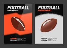 Broschüre oder Netzfahnendesign mit Ballikone des amerikanischen Fußballs Stockbild