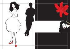 Broschüre-Schablone mit Paaren Stockbild