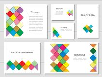 Broschüren, Flieger und Visitenkarteschablonen eingestellt Fantastisches Muster des Mosaiks in den verschiedenen Designen vektor abbildung