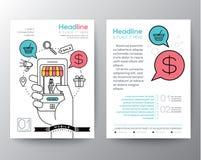 Broschüren-FliegerEntwurfschablone mit digitalem Marketing-Konzept Lizenzfreies Stockfoto