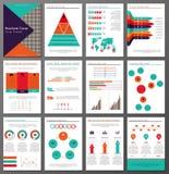 Broschüren- und Fliegerdesignschablonen Infographic eingestellt Stockbilder