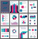 Broschüren- und Fliegerdesignschablonen Infographic eingestellt Lizenzfreie Stockbilder