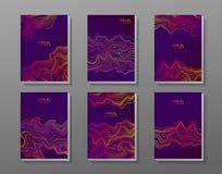 Broschürenabdeckungssatz mit abstrakten Wellen Stockbilder