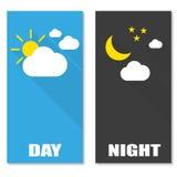 Broschürenbild von Tag und Nacht mit Schatten Stockbild