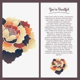 Broschürendesign, Pfingstrosenblumen-Vektorschablone Stockfotografie
