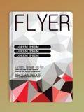Broschürendesign-Schablonenzusammenfassung kreist polygonales weißes und Re ein Lizenzfreies Stockbild