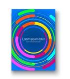 Broschürenplan mit bunten Kreisen Buntes Design des Plakats mit klaren Kreisen und des Logoraumes in der Mitte Lizenzfreie Stockfotos