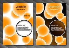 Broschürenschablone oder -fahne Orange Bälle und Platz für Text Abstrakter vektorhintergrund Dunkle und helle Version Lizenzfreie Stockfotografie
