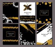 Broschürenschablonen-Designsatz mit Bürstenanschlag Vektorillustration Schmutz kardiert goldene Farbe, modernes Artplakat oder Lizenzfreie Stockfotografie