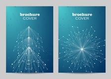 Broschürenschablonen-Plandesign Abstrakter geometrischer Hintergrund mit verbundenen Linien und Punkten lizenzfreie stockfotografie