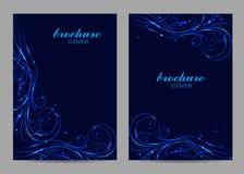 Broschürenschablonen-Plandesign Schönes Strudelmuster auf blauem Hintergrund lizenzfreies stockbild