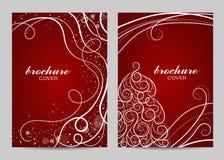 Broschürenschablonen-Plandesign Schönes Wintermuster auf rotem Hintergrund stockfotografie