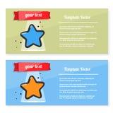 Broschürenvektor, Fliegersatz mit Bild eines Sternes Schablonenpreis, -zertifikat, -preis oder -postkarte Stockfotos