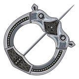 Broschen-Wadenbein Mittelalterliches Viking, Celtic, germanische traditionelle Dekoration, Verschluss für einen Mantel vektor abbildung