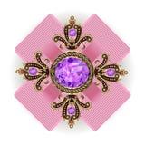 Broschhängetappning med juvlar royaltyfri illustrationer