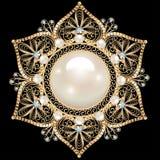 Broschsmycken, designbeståndsdel Geometrisk tappningornam Royaltyfri Fotografi