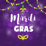 Broschyr för lilor för ferie för design för affisch för festival för beröm för maskerad för bakgrund för vektor för Mardi Gras ka vektor illustrationer