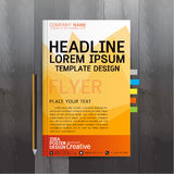 Broschyr reklamblad, affisch, mall för designorientering i formatet A4 royaltyfri illustrationer