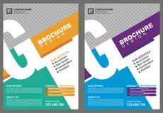 Broschyr - reklamblad med räkningen för stil för logo för ` för bokstavs`-G stock illustrationer