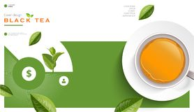 Broschyren för svart te och för koppen för grönt te, baner, lämnar vektorn vektor illustrationer