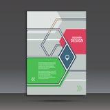 Broschyrmall med en abstrakt design av sexhörningar vektor illustrationer