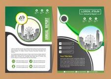 Broschyrmallorientering, r?kningsdesign?rsrapport, tidskrift, reklamblad eller h?fte i A4 med bl?a geometriska former p? polygona stock illustrationer