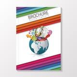 Broschyrräkning med färgrika remsor av papper Vikarier för modern design royaltyfri illustrationer