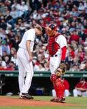 Broson阿罗约和杰森・瓦瑞泰克,波士顿红袜 免版税图库摄影