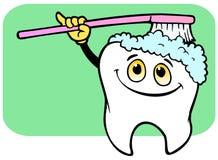 Brossage de dent heureux Photographie stock