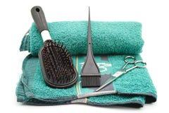 Brosse à cheveux avec des ciseaux Photo stock