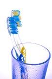 Brosse à dents deux dans une glace Photographie stock libre de droits