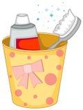 brosse à dents et pâte dentifrice dans la cuvette Photos stock