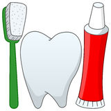 Brosse à dents et pâte dentifrice de dent de bande dessinée Images stock