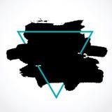 Brosse d'encre de calomnie dans le cadre triangulaire bleu Images libres de droits