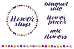 Brosse de guirlande et de fleur Style naïf illustration de vecteur