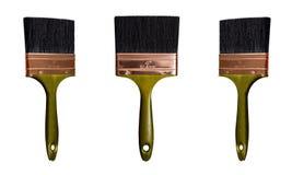 Brosse de peinture verte d'isolement Photographie stock libre de droits