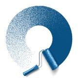 Brosse de rouleau de peinture avec la voie bleue de peinture illustration de vecteur