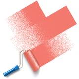 Brosse de rouleau de peinture avec la voie rouge de peinture illustration stock