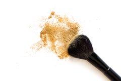 Brosse et poudre de maquillage Photos stock