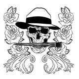 Brosse humaine de skullwith sur les graphiques blancs d'isolement de fond/T-shirt Images stock