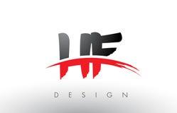 Brosse Logo Letters d'à haute fréquence H F avec l'avant de brosse de bruissement de rouge et de noir illustration libre de droits