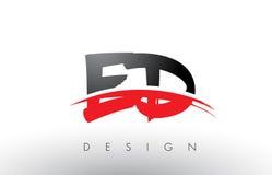Brosse Logo Letters d'ED E D avec l'avant de brosse de bruissement de rouge et de noir Image stock