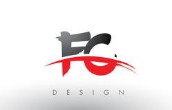 Brosse Logo Letters de FC F C avec l'avant de brosse de bruissement de rouge et de noir illustration libre de droits