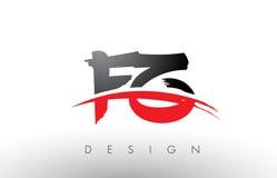 Brosse Logo Letters de FZ F Z avec l'avant de brosse de bruissement de rouge et de noir illustration stock