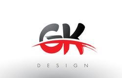 Brosse Logo Letters de GK G K avec l'avant de brosse de bruissement de rouge et de noir Images stock