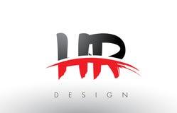 Brosse Logo Letters de l'heure H R avec l'avant de brosse de bruissement de rouge et de noir illustration de vecteur