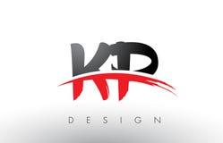 Brosse Logo Letters de la KP K P avec l'avant de brosse de bruissement de rouge et de noir Photos stock