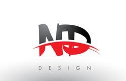 Brosse Logo Letters de ND N D avec l'avant de brosse de bruissement de rouge et de noir illustration de vecteur