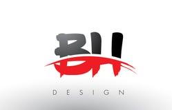 Brosse Logo Letters du BH B H avec l'avant de brosse de bruissement de rouge et de noir illustration de vecteur