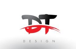 Brosse Logo Letters du décollement D T avec l'avant de brosse de bruissement de rouge et de noir Photos stock